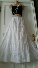 Cotton&Lace WHITE Embroidered Gypsy Boho Festival 5 tier Skirt Free Size 14-22