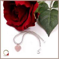 Bracciale da donna in argento braccialetto con charm Cuore e palline lucide