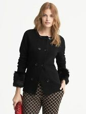 Banana Republic black faux fur cuff cardigan sweater, PXS, NWT