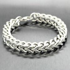 Men's Heavy Silver Stainless Steel Franco Cuban Chain Snake Bone Bracelet 10mm