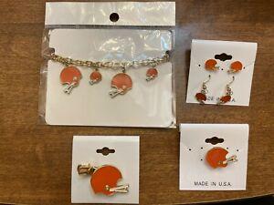 Cleveland Browns Earrings, Pin, Hair Clip, Bracelet SET Deal!