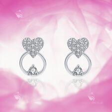 925 silver earrings simulated diamond love heart stud kids children's jewellery