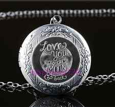 I Love You To The Moon And Back Glass Tibet Silver Locket Pendant Necklace