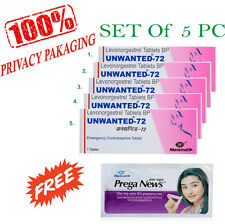 Unwanted72 Emergency Contraceptive Pill(Set of 5)1 pregnancy test strip Pri/pack