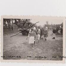 Old Russia USSR Photo WWII Military Transport Passing Village СССР Годы Войны