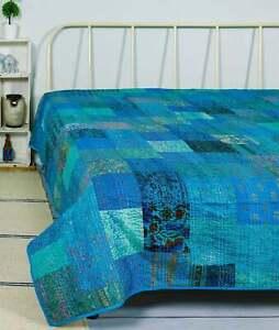 New Indian Handmade Vintage Patchwork Silk Blanket Twin Size Kantha Quilt Throw