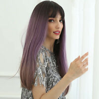 24'' Heat Resistant Long Straight Syntheti Hair Wig Cosplay Party Full Wig