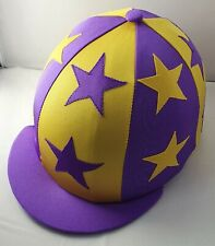RIDING HAT COVER - PURPLE & YELLOW WITH ALTERNATE DOUBLE STARS & BUTTON