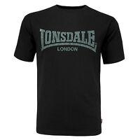 Lonsdale Black T-Shirt Kai Vintage Style Grey Soft-Touch Print Logo Regular Fit
