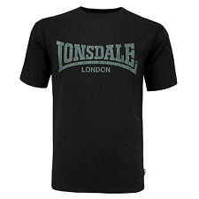 Lonsdale Black T-Shirt Kai Vintage Style Grey Soft-Touch Print Logo Regular Fit
