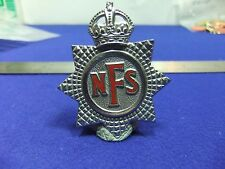 vtg badge nfs national fire service cap uniform badge home front ww2 kings
