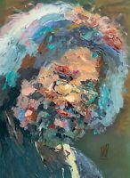 "Original Jerry Garcia Abstract Palette Knife Painting Art Grateful Dead 12x16"""
