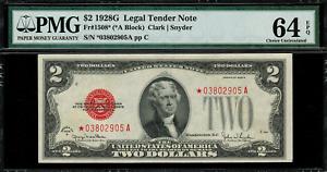 1928G $2 Legal Tender FR-1508* - STAR NOTE - Graded PMG 64 EPQ - Choice Unc.