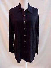 New St Michaels M&S vint/retro black embossed pattern long top / blouse Size 14