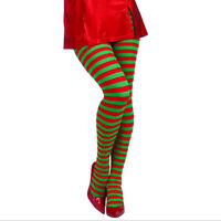 Christmas Elf Tights Striped Party Fancy Dress Xmas Costume Knee Stockings