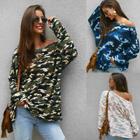 Knitted T-shirt Women Sexy Off Shoulder Long Sleeve Camouflage Blouse Top Casual