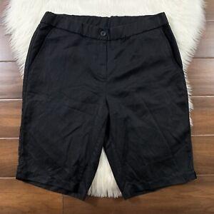 Eileen Fisher Women's Size 10 Black Lyocell Linen Blend Bermuda Walking Shorts