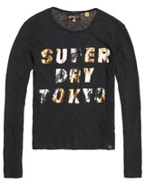 NEW Womens SUPERDRY Sequin Long Sleeve Top Grey Size UK 12