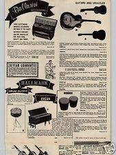 1963 PAPER AD Ballarini Piano Accordions Guitar Ukulele Bongos