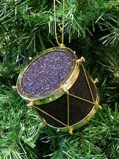 BLACK & GOLD GLITTERED DRUM INSTRUMENT CHRISTMAS TREE ORNAMENT
