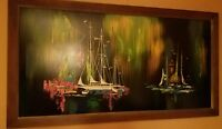 Large Mid Century Modern Oil Painting Signed Masonite 1960s Eames Era Sail Boats