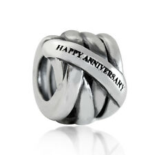 AUTH Nagara 925 Sterling Silver HAPPY ANNIVERSARY European Charm Bead
