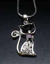 Silver Crystal CAT Pendant Necklace 14ct White Gold Gift Girl Ladies Black Eye