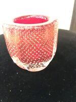 MURANO 60s VASETTO VETRO A BOLLE ED ORO MURANO GLASS
