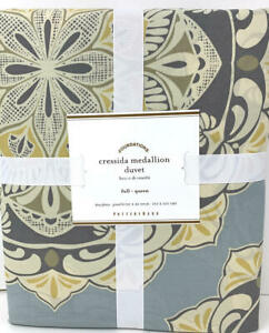 New~Pottery Barn Cressida Cresida Medallion Duvet Cover~F/Q~Blue Gray Gold