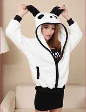 NewWomen's Panda Ear Tail Zip Up Girls' Cute Long Sleeve Hoodie Outerwear Sweat