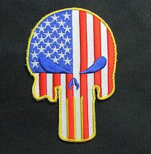 PUNISHER SKULL US AMERICAN FLAG TACTICAL ARMY MORALE BADGE COLOR VELCRO PATCH