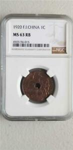 French Indochina 1 Cent 1920 NGC MS 63 RB