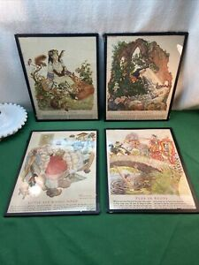 Vtg 1947 4pc FAIRY TALES Book Pages SNOW WHITE RED RIDING HOOD Litho GLASS Frame