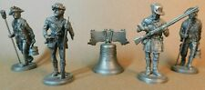 Pewter Lot 5pc Military Figurines + Liberty Bell International + Hudson