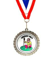 Golf Medal- Longest Putt- Comic- Bright Silver Finish- Free Neck Ribbon