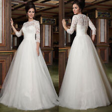 Hot 3/4 Long Sleeve A Line Wedding Dresses Lace Bridal Gown Custom 6 8 10 12 14+
