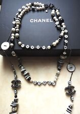 PRISTINE Chanel ✿*゚ SUBSTANTIAL Wearing Front & Back MOP Gunmetal Pearl Necklace