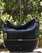NWT RALPH LAUREN BLACK PEBBLE GENUINE LEATHER MEYSEY HOBO SHOULDER HANDBAG