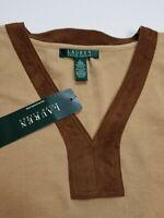 Lauren Ralph Lauren Womens Cotton 3/4 Sleeve Faux Suede V Neck Navy T Shirt XL