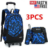 3PCS Kids Boy Students School Bag Removable Wheel Trolley Backpack Satchel