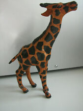 "9"" Hand Painted Leather Wrapped Decorative Vintage 90s Giraffe Figure Statue"