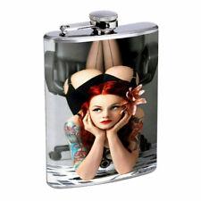 Irish Pin Up Girls D4 Flask 8oz Stainless Steel Hip Drinking Whiskey