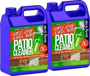 ProKleen Patio Cleaner Fluid Mould Algae Moss Killer 25% Stronger Paving 2 x 5L