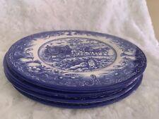 Royal Stafford Cobalt Blue Salad /Luncheon Plates Set of 4 Coach Scene Horses