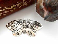 ANTIQUE SILVER Moth Cabochon Butterfly Stamping ~ Jewelry Finding (FA-6035)