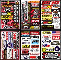 6 Aufkleber für das Motorrad Sponsoren Rennsport Motorsport Helm Tank Stickers