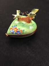 Limoges France Jacques Heart Shaped Hinged Box 2 Birds Green Limited Ed 62/500