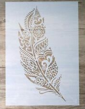 A4 FEATHER STENCIL-LAYERING PLASTIC TEMPLATE-WALL/FURNITURE/CRAFT/FLOOR-REUSABLE