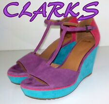 """Fabulous """"CLARKS"""" SOFTWEAR SUEDE Leather Wedge  Sandals Shoes UK 6.5 EU 40  £75"""