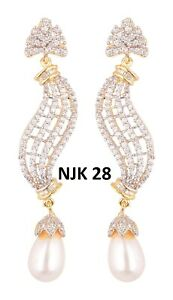 Indian Fashion American Diamond Bollywood Wedding Jewelry AD Earrings Sets NJK28